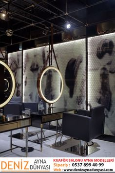the barber shop located in wuxi, china, which was created by designwire, uses palette of luxurious dark textures, colors and hexagonal shapes. Barber Shop Interior, Barber Shop Decor, Beauty Salon Interior, Salon Interior Design, Beauty Salon Decor, Beauty Salon Design, Schönheitssalon Design, Cafe Design, Design Ideas