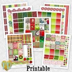 CHRISTMAS printable planner stickers 9pc Trad. by PlannerDecorator