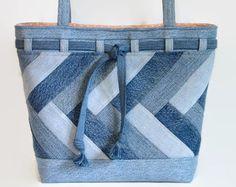 Large Denim Blue Jean Tote Bag Denim Patchwork Shoulder Bag Jean Purse Upcycled Recycled Repurposed Fabric Handbag Purse Book Bag Beach Bag