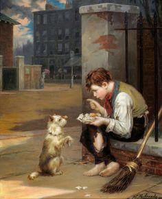 Augustus Edwin Mulready - Teaching a Dog New Tricks