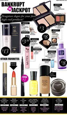 If you're like us, you probably realized you were spending way too much  cash on beauty products instead of shoes. We searched high and low for the  best duplicates of super popular high-end makeup you can purchase for a  fraction of the price at the drugstore. Some are just as good, if not  better and with prices so low, you might as well give them a shot. You just  might find that holy grail product you've been looking for!