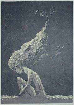 "Reetta Harmaala, ""The Power of Life"" | Linoleum Engraving on Paper | $650 | Source: http://www.art-mine.com/artistpage/reetta_harmaala.aspx | Agora Gallery | Contemporary Fine Art | NYC, NY"