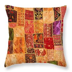 "Traditional Patchwork Tapestry Throw Pillow 14"" x 14"""