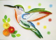 Beautiful quilled hummingbird and flowers.