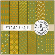 Gold Foil Digital Paper Pack Scrapbook Paper by NorthSeaStudio
