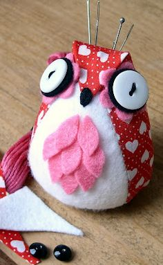 Cute little hand sewn Owl Pincushion