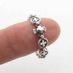 DRR102 Cross Sterling Silver 925 Solid Rosary Ring Oxidized #band