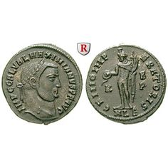 Römische Kaiserzeit, Galerius, Follis 308, vz+: Galerius 305-311. AE-Follis 24 mm 308 Alexandria. Kopf r. mit Lorbeerkranz IMP C GAL… #coins
