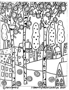 Rug Hooking Paper Pattern 3 Blooming Birches Karla G Colouring Pages, Adult Coloring Pages, Coloring Books, Paper Embroidery, Embroidery Patterns, Karla Gerard, Rug Hooking Patterns, Penny Rugs, Painting Lessons