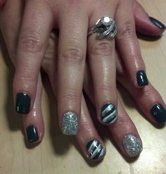 Asphalt shellac nails with bling
