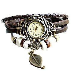 Moonar®BeautyLife Weave Wrap Around Leather Bracelet Quartz Lady Women Wrist Watch (Coffee) Woven Wrap, Bracelet Watch, Diy Bracelet, Cell Phone Accessories, Quartz, Bronze, Purses, Watches, Band
