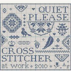 N e e d l e p r i n t: Quiet Please - Cross Stitcher At Work - Free Chart