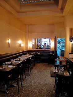 new table. Paris Restaurants, Restaurant Interior Design, Restaurant Bar, France, Dining, Architecture, Snail, Dark Brown, Table