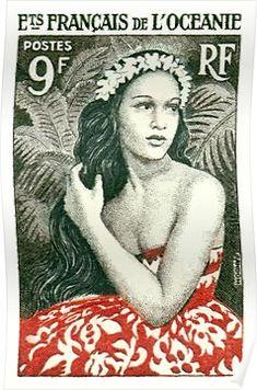 1955 French Polynesia Girl of Bora Bora Postage Stamp by Retro Graphics Rare Stamps, Vintage Stamps, Japanese Graphic Design, Vintage Graphic Design, Bora Bora, French Polynesia Honeymoon, Postage Stamp Design, Native Girls, Stamp Printing