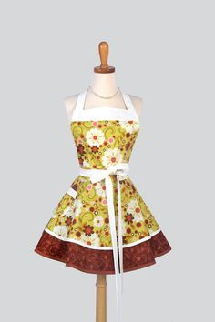 Ruffled Retro Apron - Cute Womens Apron in Riley Blake Indian Summer Floral with Rust Swirls Handmade Full Kitchen Apron