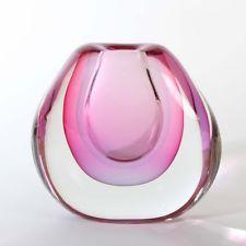 Massive, schöne Vase Archimede Seguso Murano Glas Multisommerso pink blau