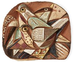 Mid Century Ceramic Birds Wall Plaque by Tyra Lundgren