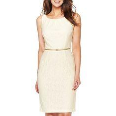 Sleeveless Lace Sheath Dress ($50) ❤ liked on Polyvore