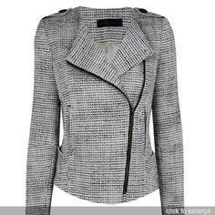 gray tweed biker jacket