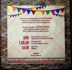 Lucia's Pista sa Nayon Themed Party – Birthday 70th Birthday Parties, Kids Birthday Party Invitations, 7th Birthday, Filipino, Festival Themed Party, Reunion Invitations, Fiesta Theme Party, Invite, Philippines