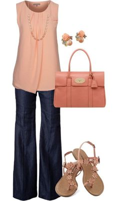 Peach sleeveless top with flare jeans and nude sandals. Stitch fix fall 2016