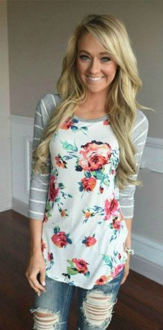 Always Beautiful Floral Top: This gorgeous floral top is perfect for date night or a causal weekend style.  Featuring an O neck with long sleeves and a splash of floral to make you pop with color.  TheChicFind.com