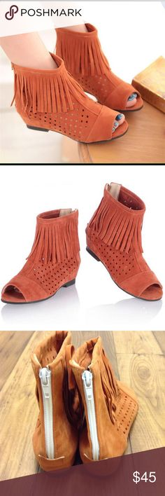 """Peep Toe Fringe Booties Orange Peep Toe Fringe Booties. Has fringe along the top and has small cut outs. There is a white zipper in the back. There is a small heel of 1.5"""". The Fabric is Suede. Open to Reasonable Offers! Shoes Ankle Boots & Booties"""