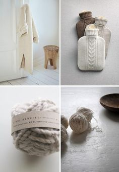 winter inspiration by the style files - knitted hot water bottle cover + wooden stool Hygge, Textiles, Winter Time, Seasonal Decor, Color Inspiration, Decoration, Cosy, Neutral, Relax