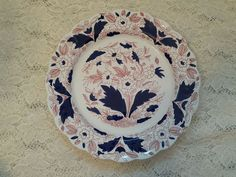 Booths Dovedale Dinner Plate Rust Red and Cobalt Blue FREE US Shipping #Booths