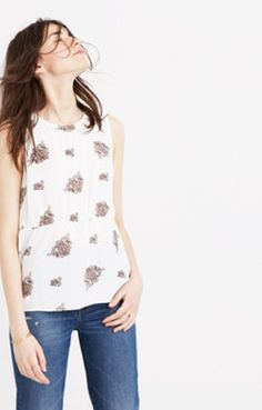 Ruffle Tank Top in Floating Paisley