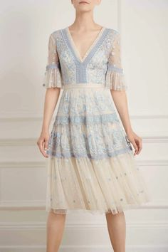 New Season Midsummer Lace Dress in Champagne/Blue Sequin Midi Dress, Sequin Gown, Embellished Dress, Embroidered Lace, Flora Dress, Blue Artwork, Ballerina Dress, Dress With Bow, Midi Dress With Sleeves