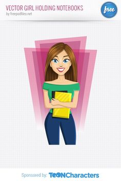 Free Vector Girl Holding Notebooks (1.9 MB) | vectorcharacters.net | #free #illustrator #ai #vector #girl #notebook