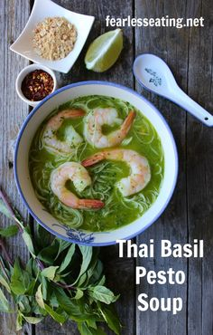 If you like Thai cuisine and you like pesto you'll love this recipe for a Thai basil pesto soup! | It's great for digestive issues too as it's naturally gluten-free, dairy-free and is made with homemade bone broth.