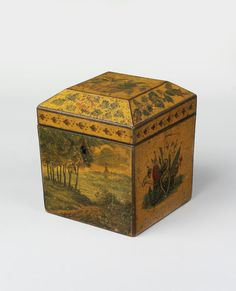 Tea caddy Place of origin: England, Great Britain (made) Date:1800-1820 (made) Materials and Techniques: Wood, painted; ivory  Tea caddy of square form with domed lid, with painted decoration on a pale varnished wood ground. | V&A Search the Collections