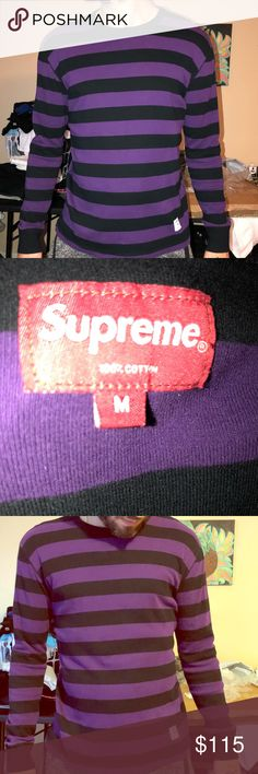 51df6750709 Shop Men s Supreme Purple Black size M Shirts at a discounted price at  Poshmark. Does run small. Never been worn. sweater like material.
