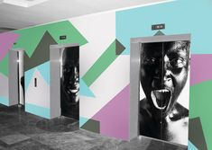 Artistic Elevator Wall Murals Visually Disrupting Work Routine by PIXERS - http://freshome.com/2012/08/10/artistic-elevator-wall-murals-visually-disrupting-work-routine-by-pixers/