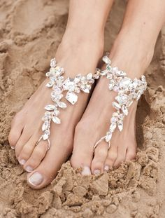 "The perfect pair of #barefoot #wedding ""shoes"". Crystal for #bride and colors for the bridesmaids."