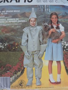 Items similar to Dorothy and Tin Man Wizard of Oz Character Child Toddler Unisex Costume Halloween Stage Play McCall's 2202 Sewing Pattern Sz. 4 - 6 on Etsy Halloween Patterns, Costume Patterns, Tin Man Costumes, Wizard Of Oz Characters, Cabbage Patch Kids Dolls, Gingham Fabric, Raggedy Ann And Andy, Stage Play, Sewing Patterns For Kids