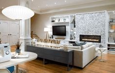 I love the lighting in this room especially the one on the sofa console!