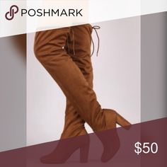 "Cognac Over the knee suede boots Heels aprox 3""/ 25"" tall with heels aprox/ price firm Shoes Over the Knee Boots"