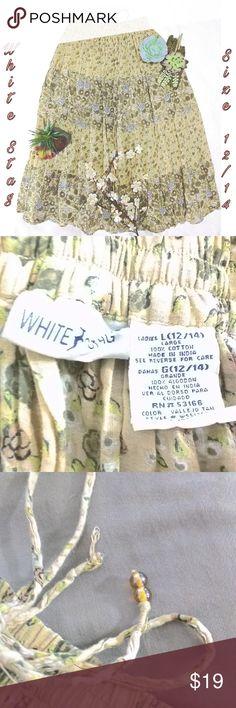 White Stag Cotton Maxi BOHO Skirt Size 12/14, 100% Cotton, Full Skirt, Tan, white, black, Olive green, White Stag Skirts A-Line or Full