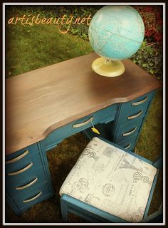 DIY painted desk - great color!   Paint all but top, stain top a less orange color.