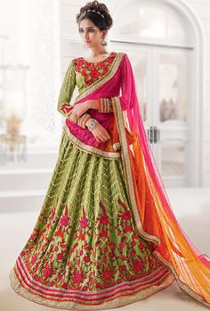 LEHENGA: Banglori Silk(Semi-Stiched Fit Upto 42) DUPATTA: Soft Net BLOUSE: Banglori Silk (Semi-Stiched Fit Upto 42) COLOUR: Pink, Orange and Green WORK: Embroi