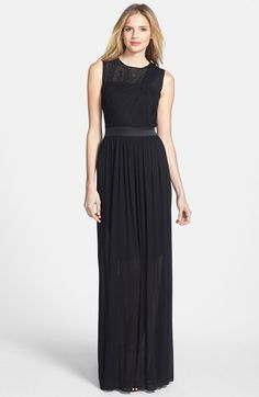 Vera Wang Embellished Yoke Ruched Jersey Gown
