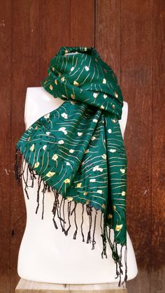 Green / Gold Cashmere Scarf Luxury Hand Woven  100% by CoverRelax
