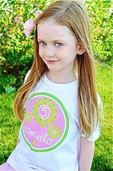 Flower Birthday Shirt Personalized Kids T-shirt for Girls Pink & Green | FUNKY MONKEY THREADS #FMT #funkymonkeythreads #pinkandgreenbirthday