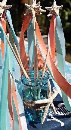 Whimsical Modern Mermaid birthday party : Starfish wands
