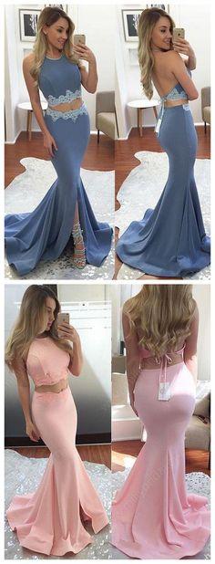 Halter Silk-like Satin Sweep Train Appliques Lace Trumpet/Mermaid Two Piece Prom Dress