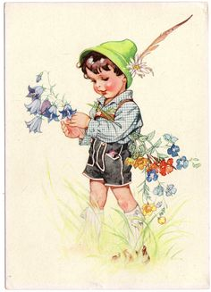 Vintage postcard of Alpine Boy and Spring Flowers by thecedarchest on etsy