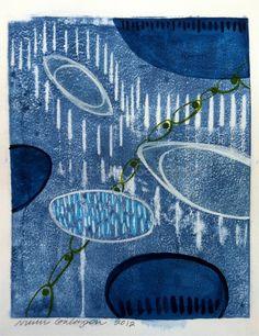 "Blue Moon, Abstract Modern Art, Original Mixed Media monotype painting hybrid on paper, 11""x14"". $85.00, via Etsy."